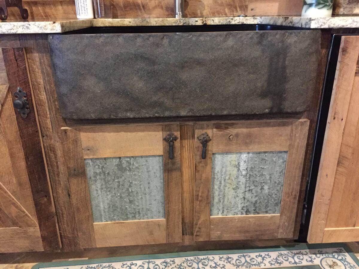 rustic hardwood and tin two door cabinet profile