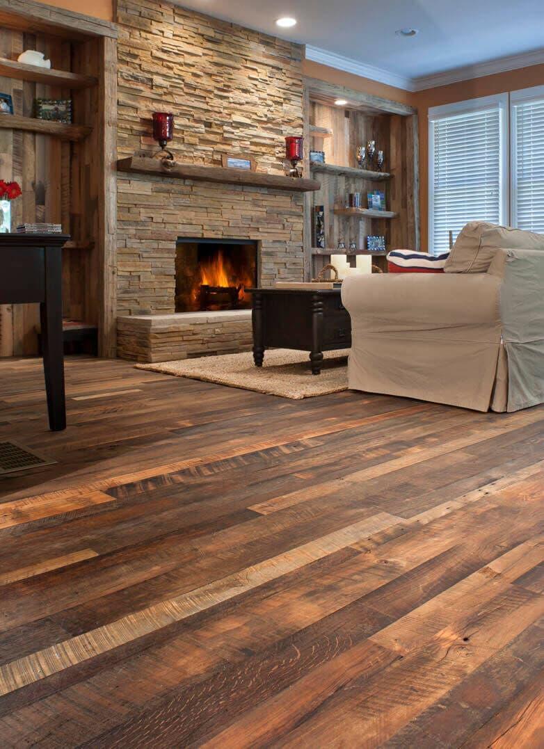 Carolina Character rustic hardwood flooring in Flat Rock North Carolina home.