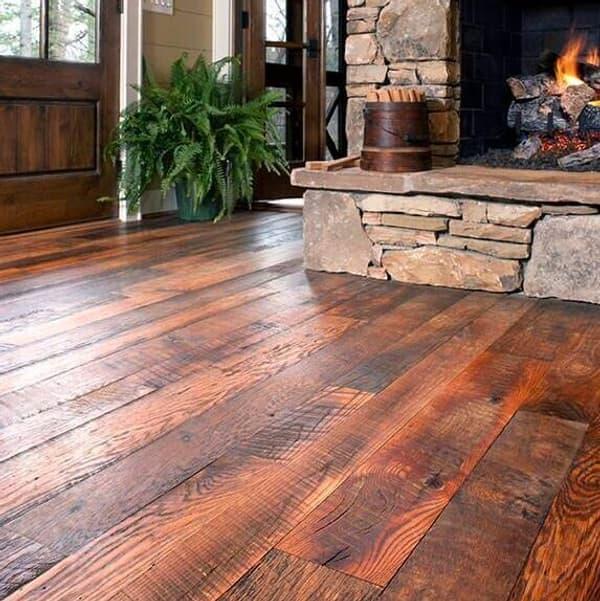 Rustic reclaimed oak flooring.