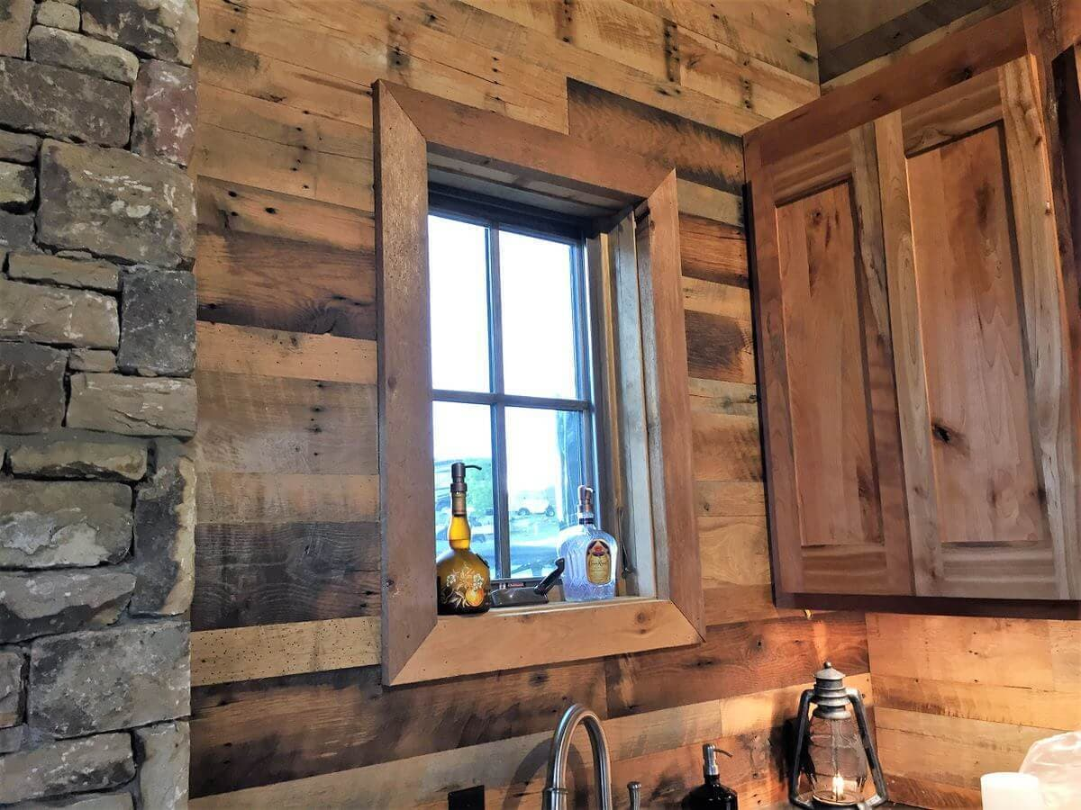 rustic wall cladding and window trim in a kitchen, lake toxaway, nc