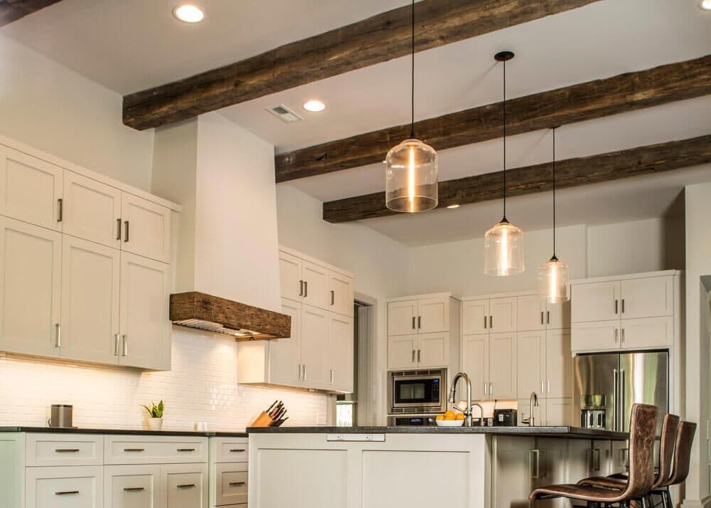 rustic wood beams and floor