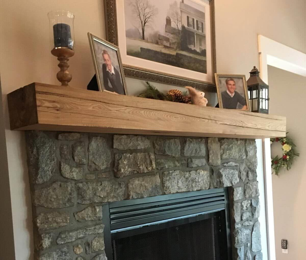 Ash wood mantel with smooth planed finish.