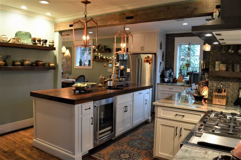 Solid wood pine beam with circle sawn texture in kitchen.