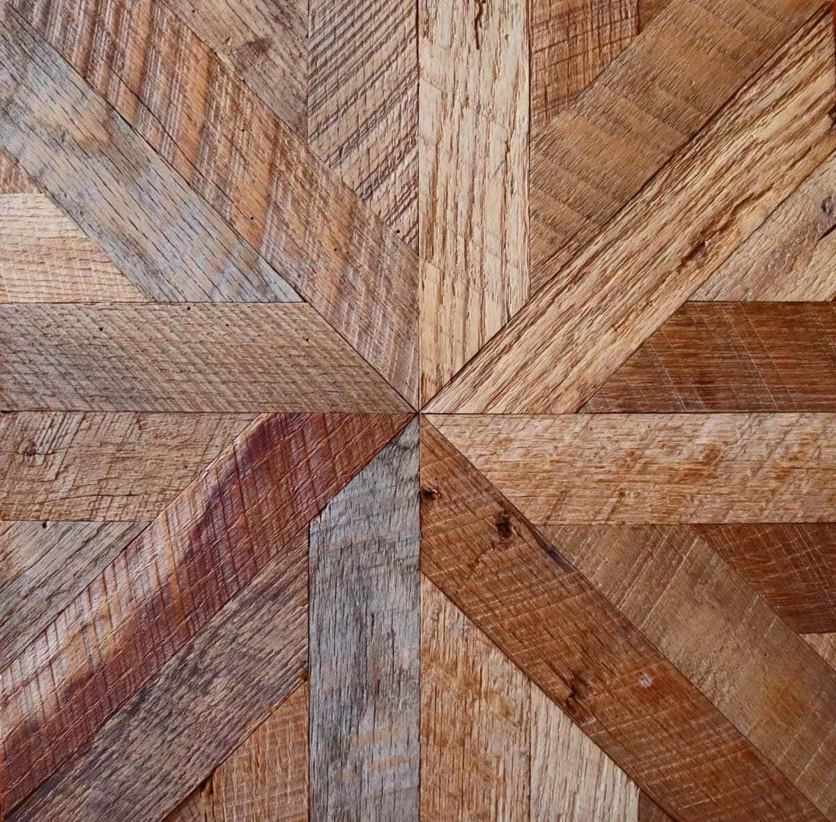 Engineered reclaimed wood tile in star pattern.
