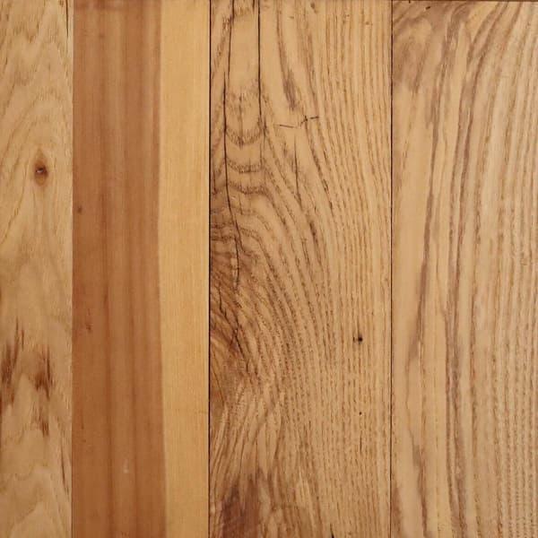 Engineered reclaimed mixed hardwood flooring swatch.
