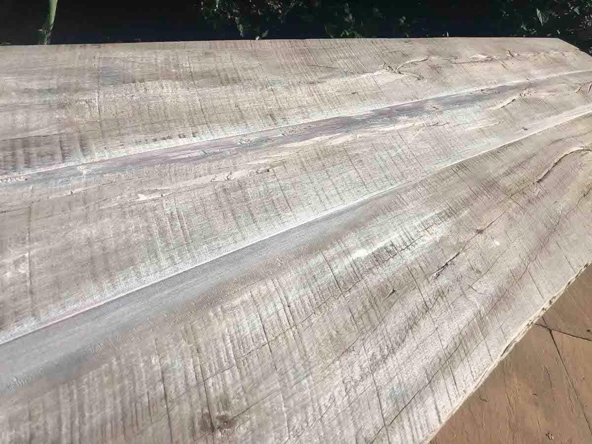 weathered gray table top closeup at horizontal angle