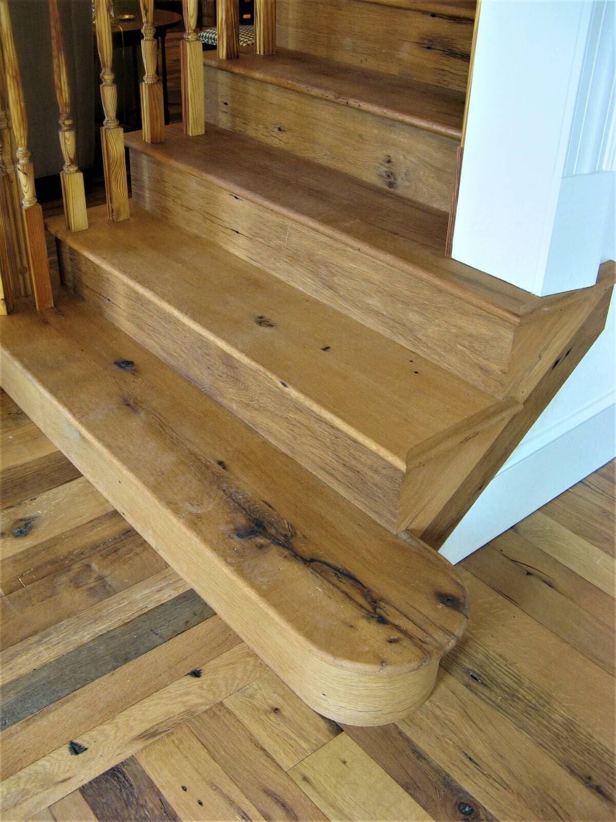 reclaimed white oak floor and rounded stair leading up in spartanburg sc