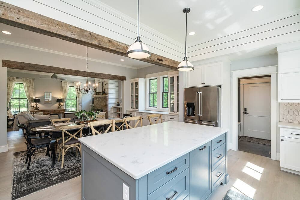 Solid wood beam decorative ceiling accent in kitchen dining room