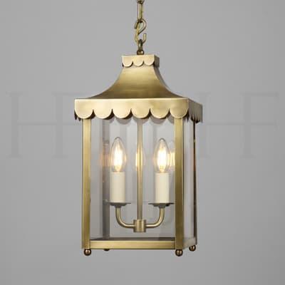LA8 Scallop Edge Hanging Lantern Antique Brass S