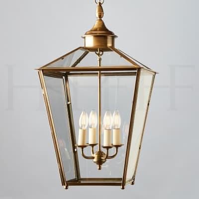 LA92 L Sir John Soane Hanging Lantern Large Antique Brass S