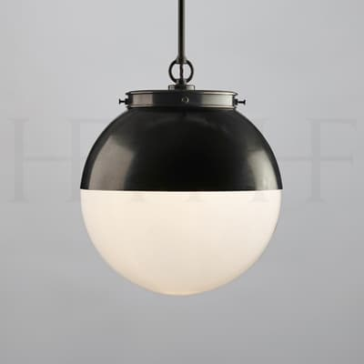 PL103 MHOOD Hector Glass Globe With Hood Medium Single Opal BZ S