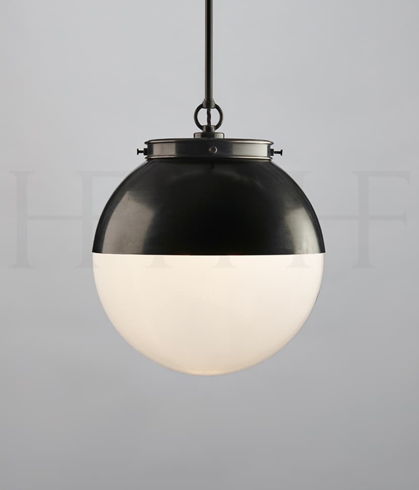PL103 MHOOD Hector Glass Globe With Hood Medium Single Opal BZ S