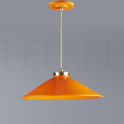 Pl300 S Lucia Ceramic Pendant Arancio Antique Brass S