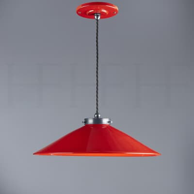 Pl300 S Lucia Ceramic Pendant Small Rosso And Gunmetal Cut Out S