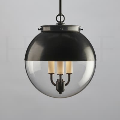 Pl85 M Hector Glass Globe With Hood Medium Bz S