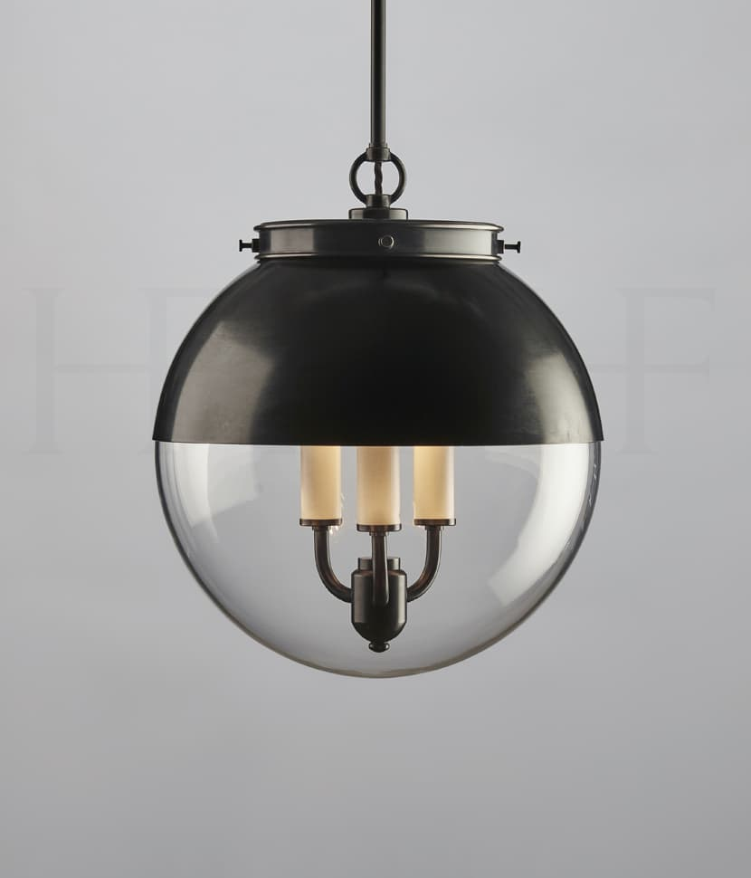 Pl85 M Hector Glass Globe With Hood Medium Bz S