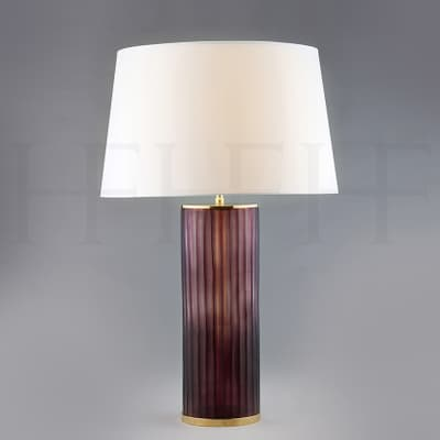 Tl150 Amerthyst Ribbed Glass Table Lamp S