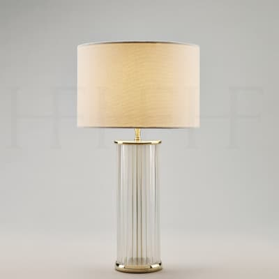 Tl56 Clear Ribbed Glass Table Lamp S