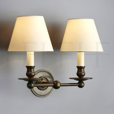 Wl25 L Hector Twin Straight Arm Wall Light Large S