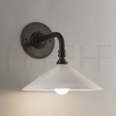 Wl70 Glass Coolie Shade Wall Light Straight Arm S