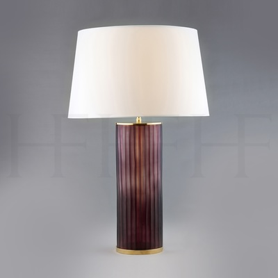 Amethyst Ribbed Glass Table Lamp