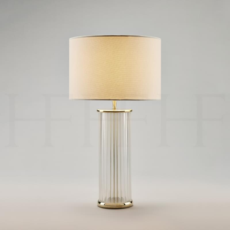 Tl56 Clear Ribbed Glass Table Lamp L