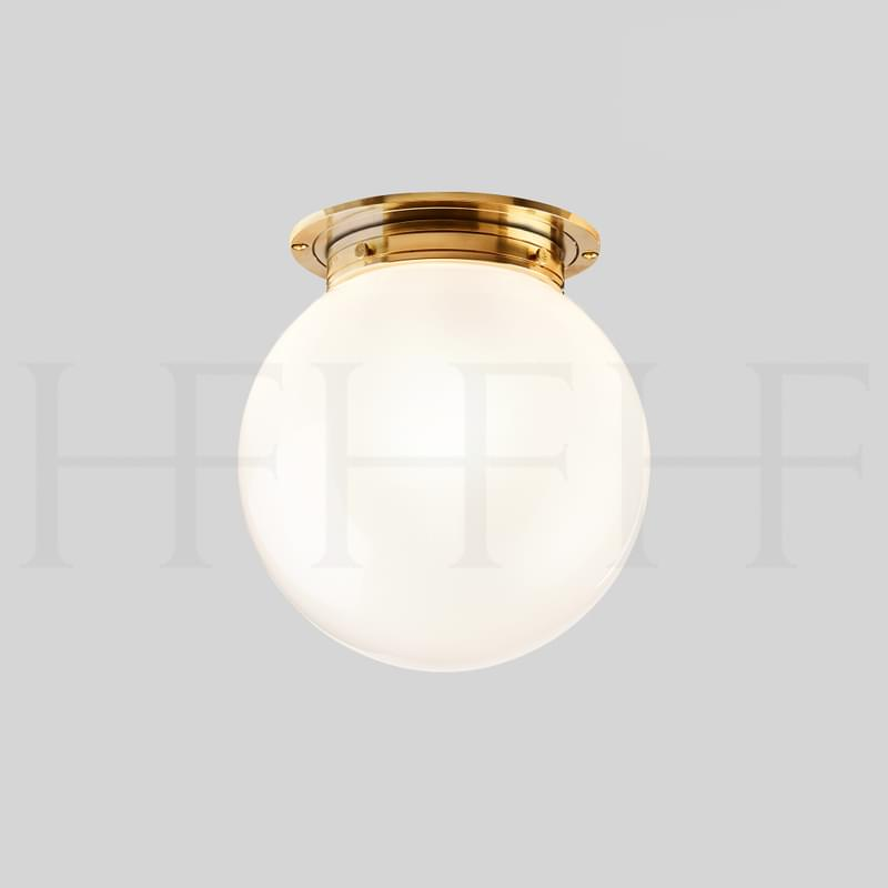CL18 Opalescent Globe Flush Mount Withe Glass L