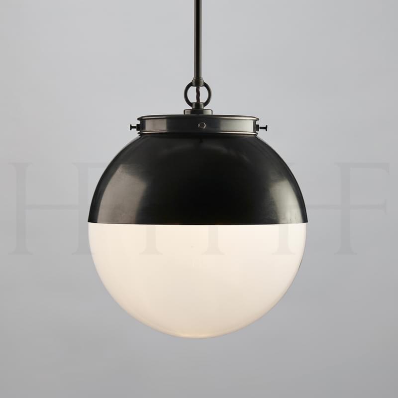 PL103 MHOOD Hector Glass Globe With Hood Medium Single Opal BZ L