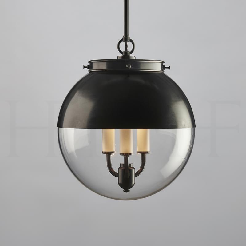 Pl85 M Hector Glass Globe With Hood Medium Bz L