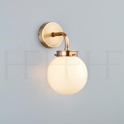 Hector Mini Globe Wall Light, Opal Glass