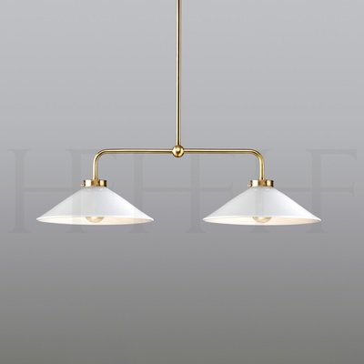 Lucia Double Pendant on Rod, Medium, Bianco