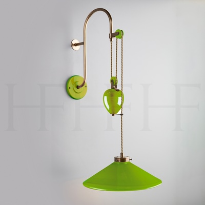 Lucia Rise and Fall Wall Light, Verde Selenio