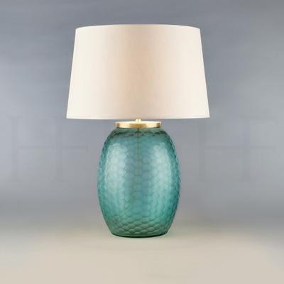 Mala Table Lamp, Medium, Aquamarine, Honeycomb