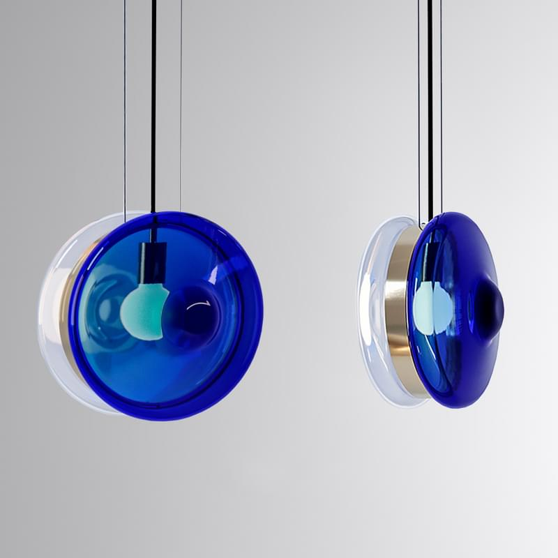 Pl391 Orbital Pendant Clear And Neptune Blue L