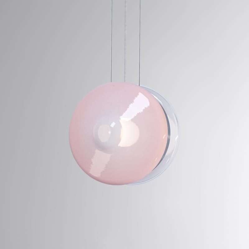 Pl394 Orbital Pendant Clear And Venus Pink L