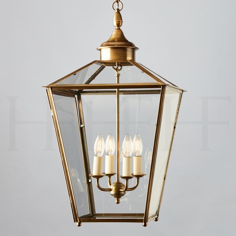 LA92 L Sir John Soane Hanging Lantern Large Antique Brass L