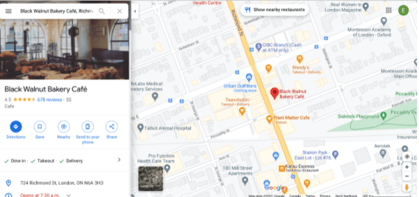 Business example Google Maps