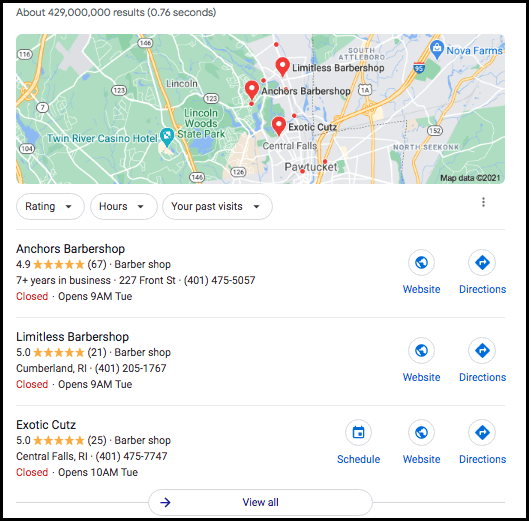 Google Maps 3-pack example