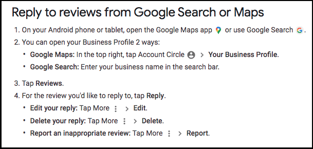 Reply to reviews from Google Search or Maps via Android