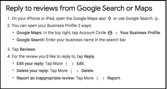 Reply to reviews from Google Search or Maps from iPhone or iPad