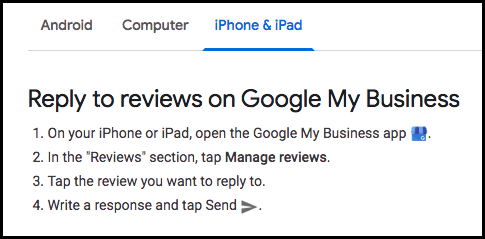 Reply to reviews on Google My Business via iPhone or iPad