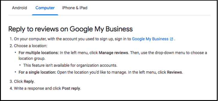 Reply to reviews on Google My Business via computer