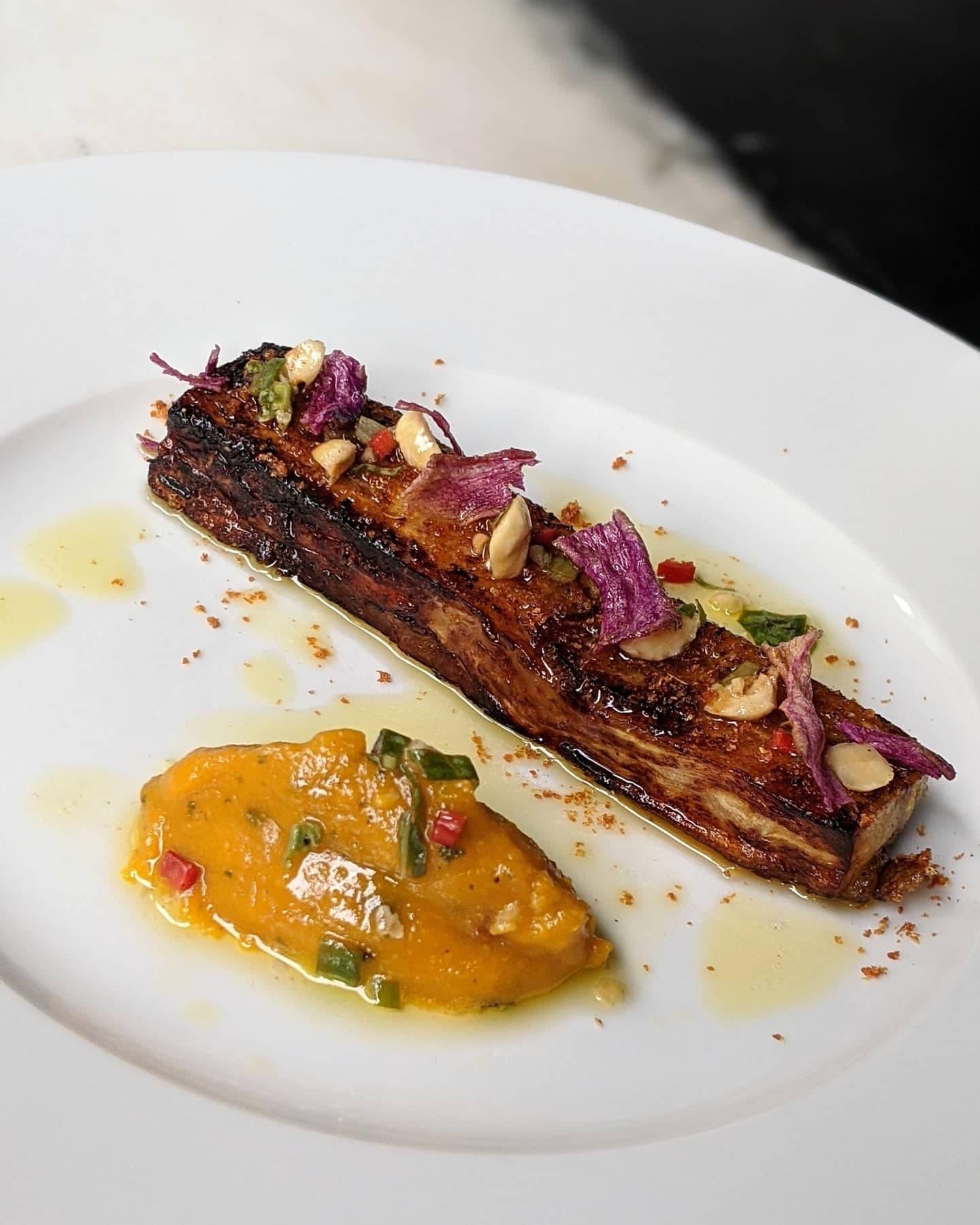 Aubergine compressed with vegan dashi, part of a vegan menu at Angelina