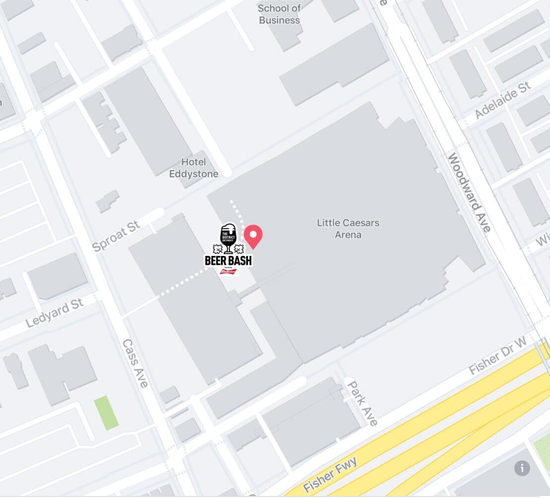 Budweiser Biergarten at Little Caesars Arena Map