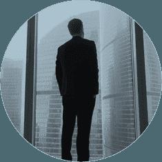 Visorie man in window
