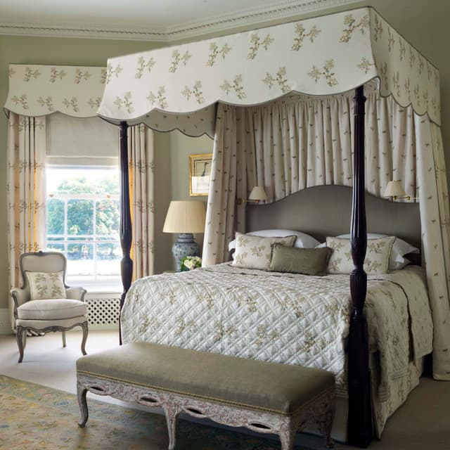 F469 Hand Embroidery Fabric Bedroom
