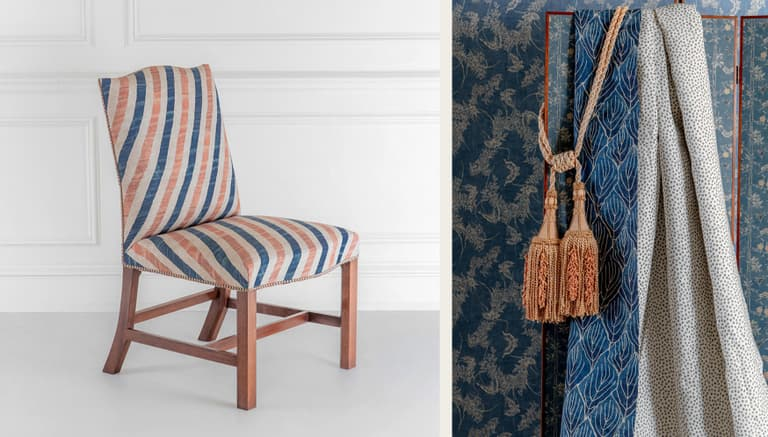Chair and Fabrics Robert Kime Tory Burch Nara Collection Chelsea Textiles
