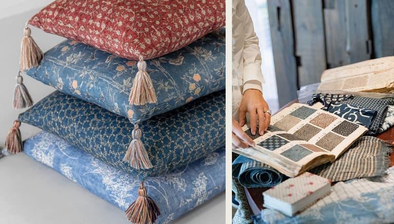 Fabrics and Cushions Robert Kime Tory Burch Nara Collection Chelsea Textiles