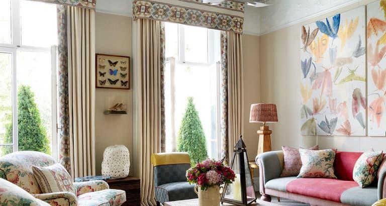 Kit Kemp Ashenwood Contrast Cushion Curtains Pelmet Chelsea Textiles