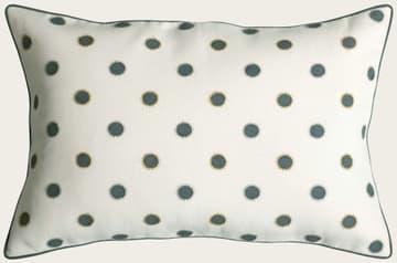 Dots in indigo with sun in seafoam/gold